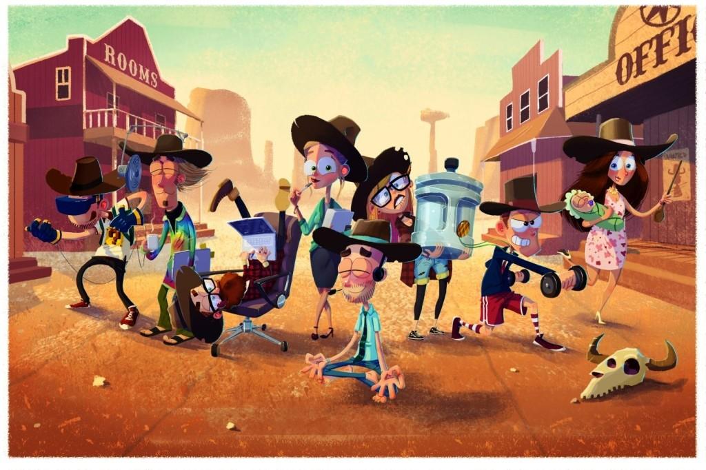 Vtipná ilustrace s postavami